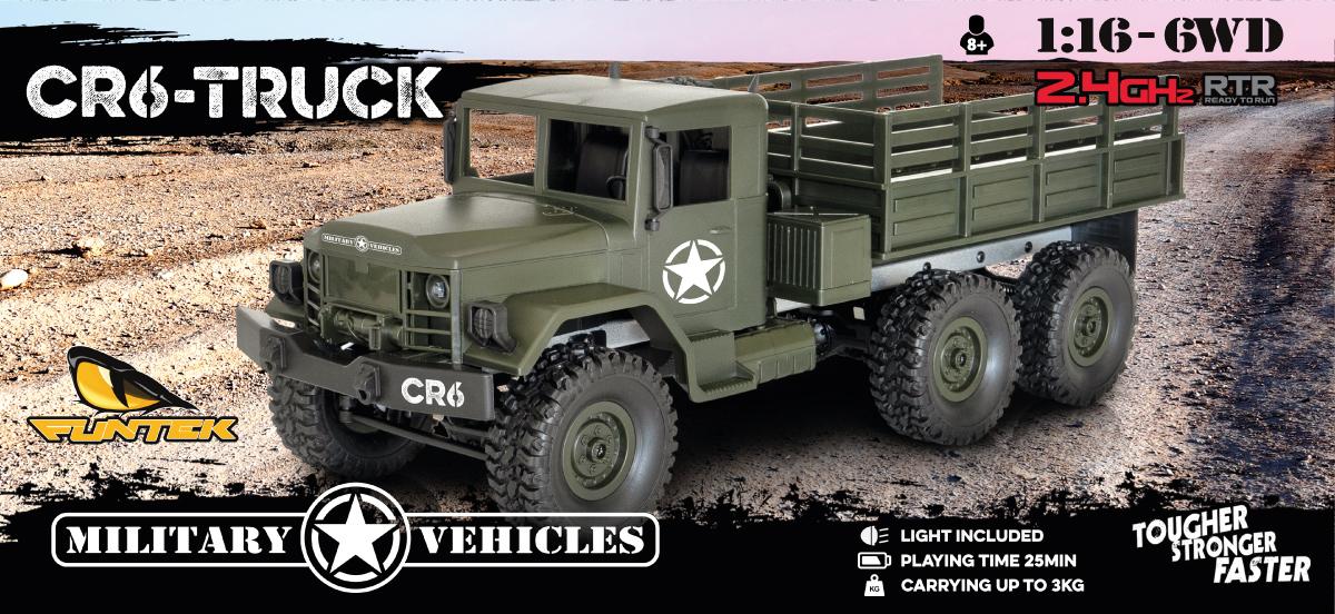 Funtek CR6 6x6 Military Truck 1/16 rc rtr 01