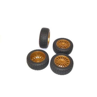 Kyosho 1:9 DRX VE Complete Rally Wheels Set 4pc with Gold Color Rims