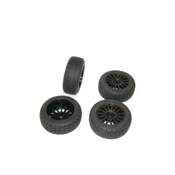 Kyosho 1:9 DRX VE Complete Rally Wheels Set 4pc with Black