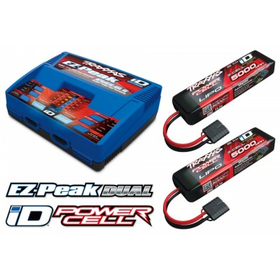 Combo Pack Ez-Peak Dual Charger and 2x Battery LiPo ID 3S 5000mah 25C Traxxas